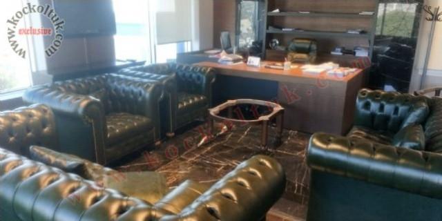 chester koltuk takımları kahve rengi gerçek deri c